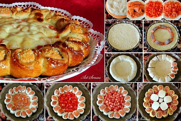 Артистично оформена пица със сьомга