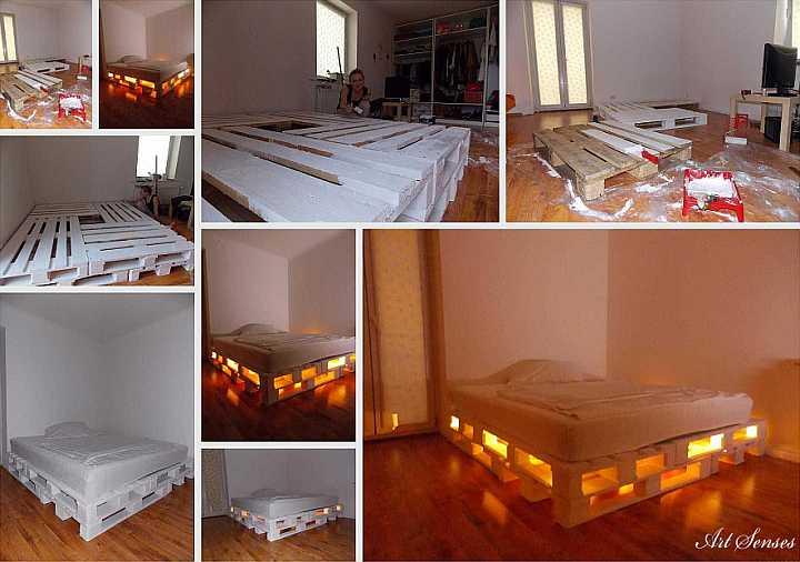 Leuchtendes Palettenbett