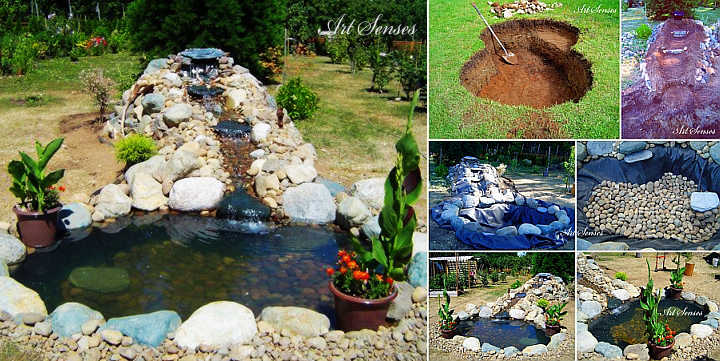 Make a lake with a fountain in the garden