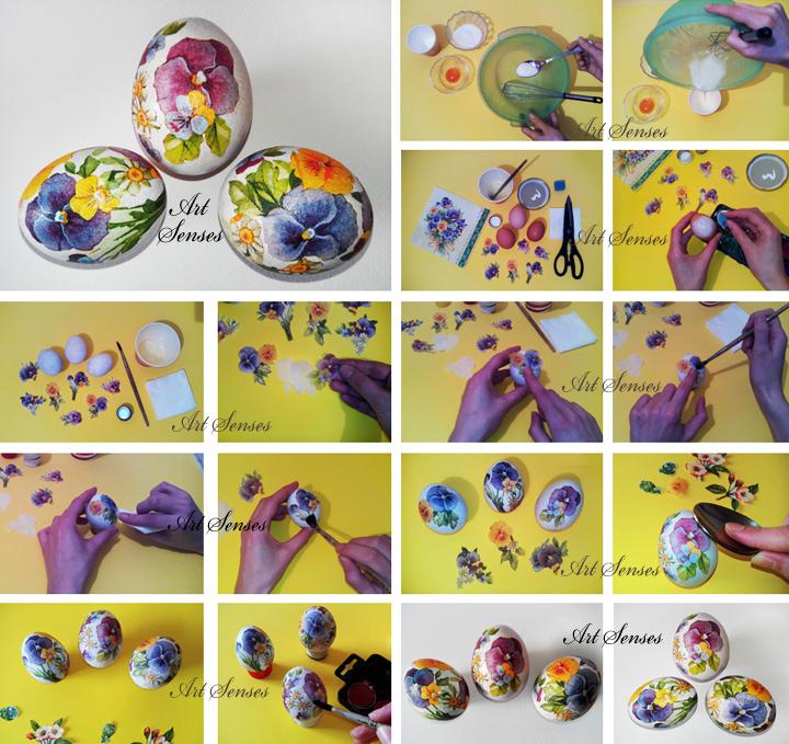 Decoupage de huevos de pascua