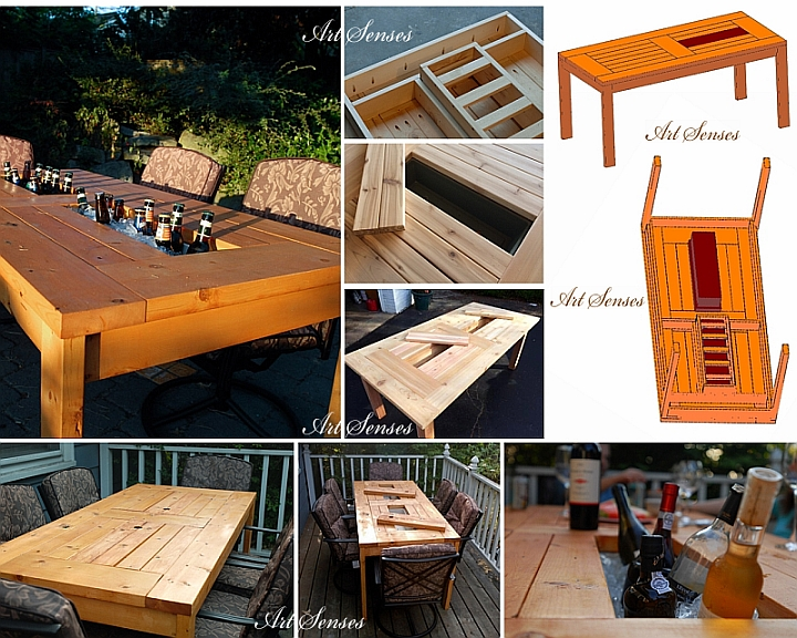 Buzdolabı ile bahçe masası