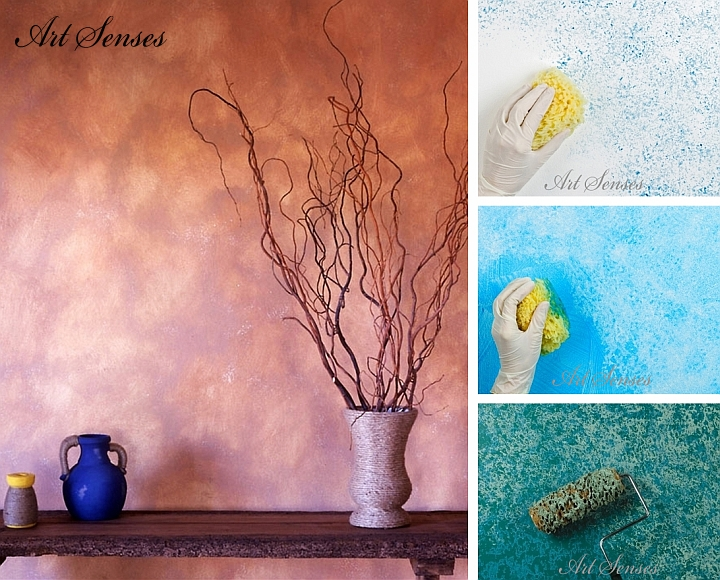 Techniques for artistic wall decoration with a sponge