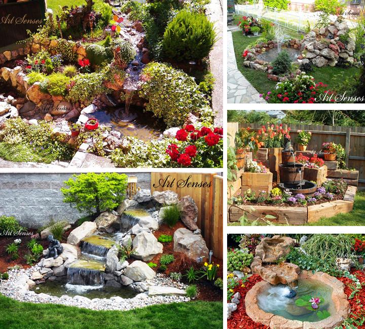 Красив градински водопад