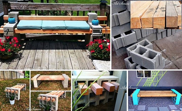 Do it yourself garden bench made of beams and blocks