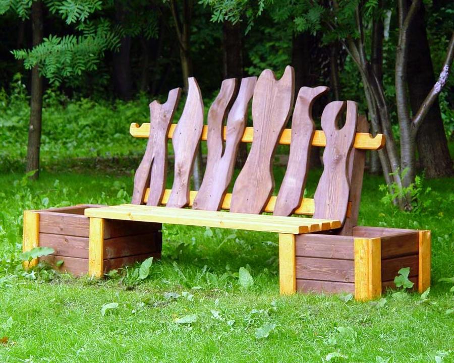 تجعل نفسك مقعد حديقة خشبي مع سرير زهرة
