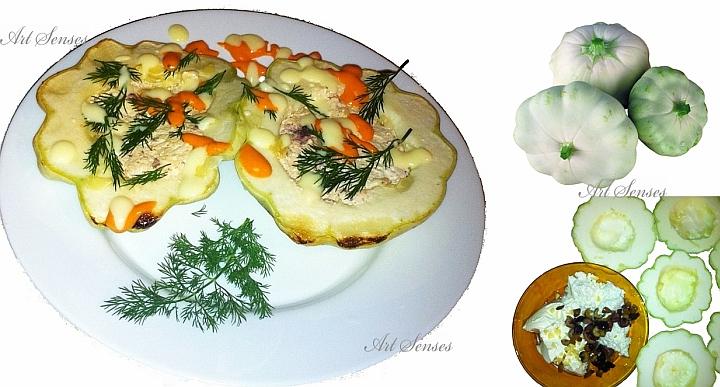 """Gefüllte Knoblauch-Zucchini """"Squash"""" mit Oliven und Sahne"""