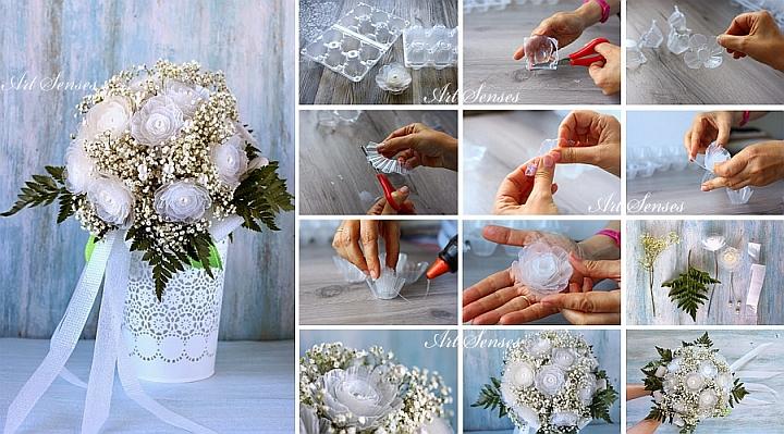 Machen Sie sich künstlerische Blumen aus Eierkartons