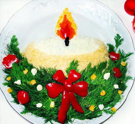 """Салата """"Коледна свещ"""""""