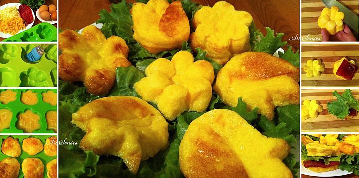 Schöne Eimuffins mit Käse und Prosciutto