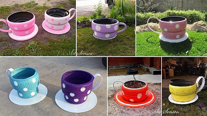 Градински чаши-цветарници от стари автомобилни гуми