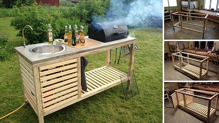 Crea una cucina da giardino temporanea per barbecue