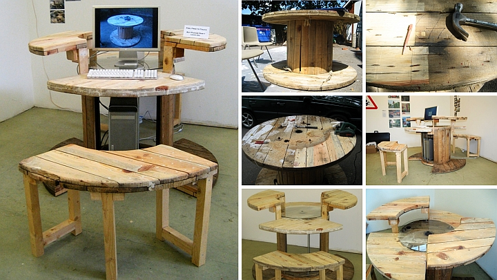 他為兩個木製線軸做了一個電腦桌