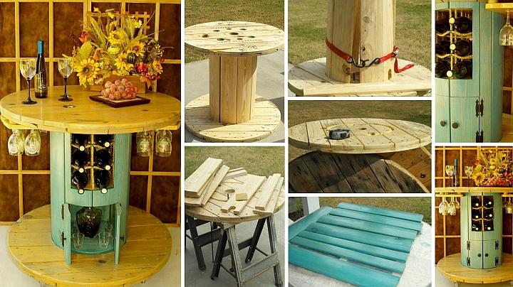 केबल के लिए स्टाइलिश लकड़ी की टेबल रील