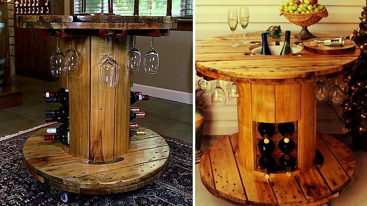 स्टाइलिश लकड़ी की चरखी बार टेबल