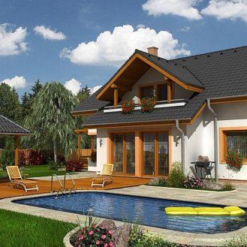 Проект на къща с мансарден етаж, 4 спални, беседка и басейн