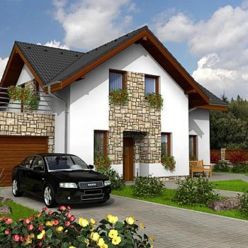 Красива къща с гараж, басейн и декоративна фасада