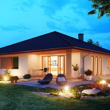 Проект на едноетажна къща с три спални и двоен гараж