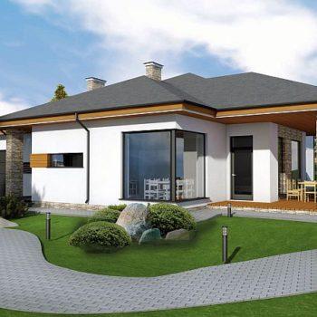 Проект на едноетажна къща с три спални, гараж и таванско ниво