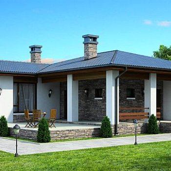 Проект на компактна едноетажна къща с каменни облицовки