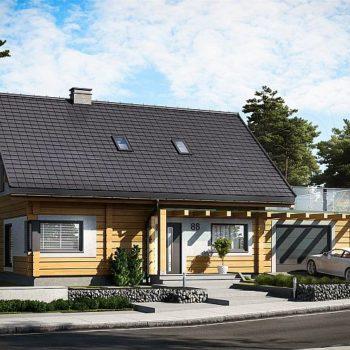 Проект на дървена къща с мансарда, гараж и тераса