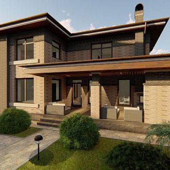 Проект на стилна двуетажна къща с голяма веранда