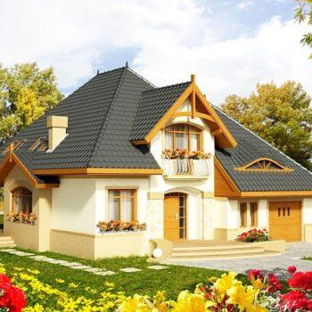 Красив проект на къща с мансарда и гараж