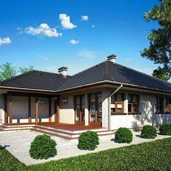 Проект на прекрасна едноетажна къща с 3 спални, гараж и веранда
