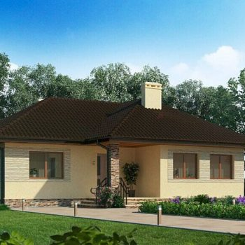 Проект на компактна къща с три спални на 74кв.м. жилищна площ