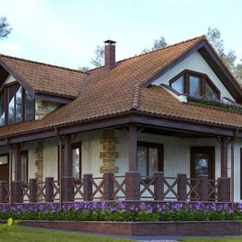 Чудесен проект на голяма къща с веранда и мансарда