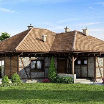 Проект за къща с камък и дърво на 100кв.м. полезна площ, гараж и таван