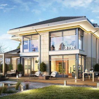 Проект на слънчева двуетажна къща със зимна градина