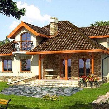 Уникален проект на къща с мансарда и двоен гараж