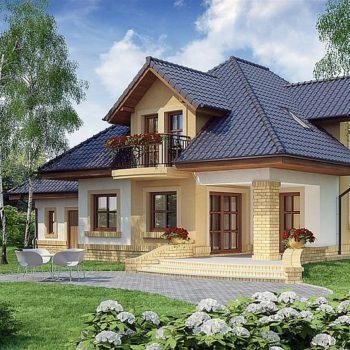 Проект на великолепна къща с 3 мансардни спални и гараж