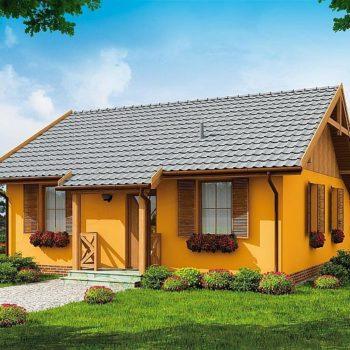 Проект на дървена къща с 2 спални и барбекю зона