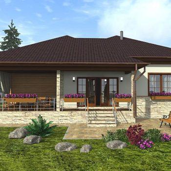 ອອກແບບເຮືອນສອງຊັ້ນງາມໆມີ 2 ຫ້ອງນອນ, veranda ແລະ garage