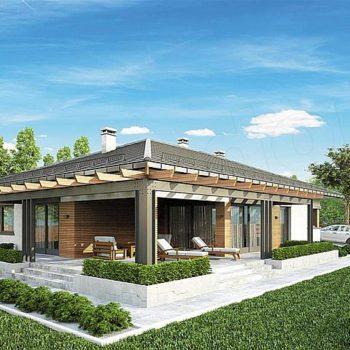 Дизајн прелепе једнокатнице са 4 спаваће собе, гаражом и перголом