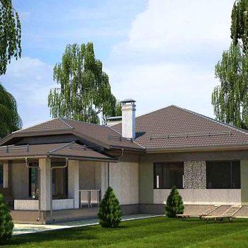 Дизајн простране једноспратне куће са 3 спаваће собе и верандом