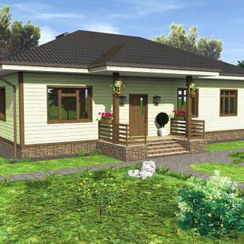 Дизајн дрвене једнокатнице са три спаваће собе и верандом