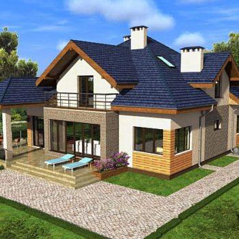Дизајн прелепе куће са поткровљем и пет спаваћих соба