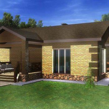Дизајн циглане једноспратне куће са две спаваће собе и 94мXNUMX. животни простор