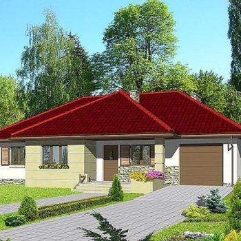 Дизајн практичне једноспратне куће са 3 спаваће собе и гаражом