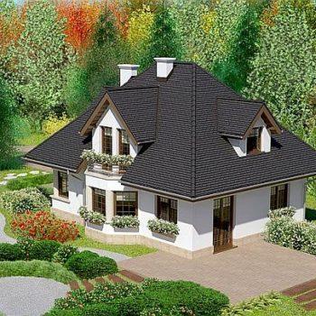 Дизајн елегантне и комфорне куће са таванским подом и гаражом