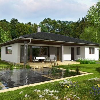 Пројект прекрасне једноспратне куће са три спаваће собе и верандом