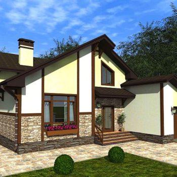 Пројект велике куће са поткровљем, подрумима и гаражом