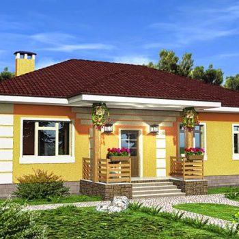 Пројект прекрасне једноспратне куће са 3 спаваће собе и верандом