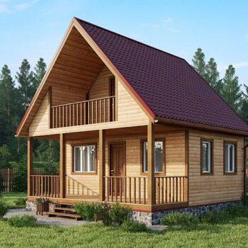 Projekt dřevěného bungalovového domu s jednou ložnicí a verandou