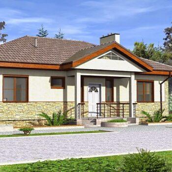 Projekt jednopodlažního domu se třemi ložnicemi a užitnou plochou asi 100m2
