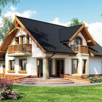 Projekt velkolepého domu s podkrovím a dvojgaráží