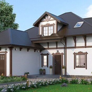 Wonderful project of a house with an attic, a garage and many rooms