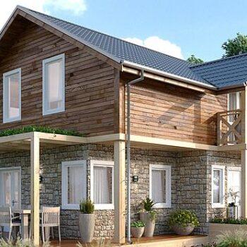 Projekt kompaktního dvoupodlažního domu se třemi ložnicemi